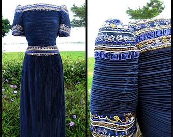RICHILENE vintage gown / Richilene Fortuny Pleat Gown / Richilene Navy Blue Beaded Gown / fits S-M / 80s Navy Blue Gown / Richilene Dress