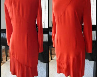 BILL BLASS Red Dress   Vintage Bill Blass Dress   80s Bill Blass Red Dress    fits M   Bill Blass Asymmetrical Pleated Dress 151c2ebfc