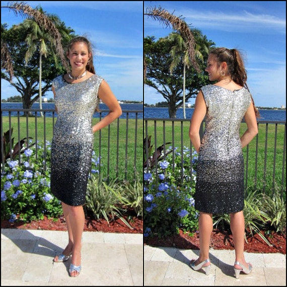 50s Sequin Dress / Ombre silver black sequin dress