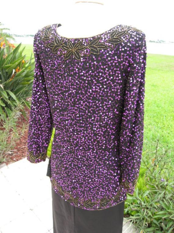 Purple Sequin Tunic / Vintage Purple Sequin Tunic… - image 8