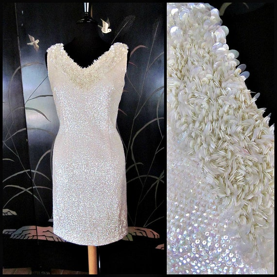 50s Sequin Dress / Vic and Vic Haute Couture Sequi