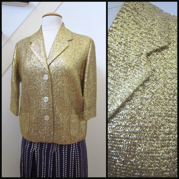 50s gold lame jacket / fits S / vintage gold lame'