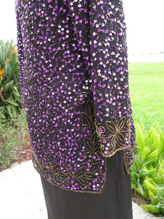 Purple Sequin Tunic / Vintage Purple Sequin Tunic… - image 9
