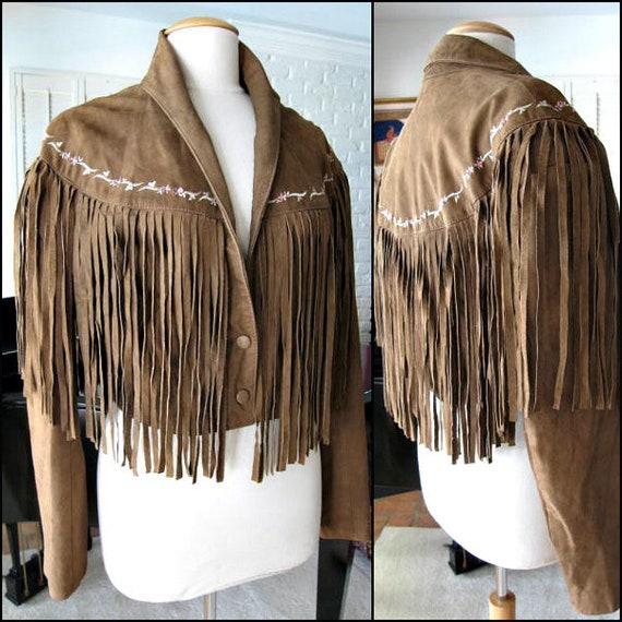 Fringed Suede Jacket / fits L / Western Fringed Ja