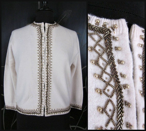 Copper beaded sweater / 50s bridal sweater / fits