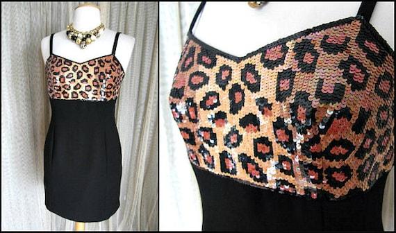 LEOPARD sequin dress / fits S / 80s leopard body c