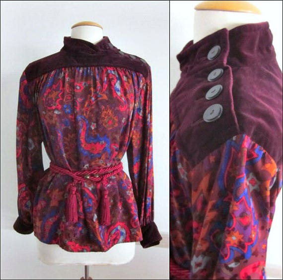 1fd7b5b8 Yves Saint Laurent Russian Collection / Yves Saint Laurent Blouse / Vintage  YSL Blouse / YSL cossack blouse / fits S-M / YSL peasant blouse