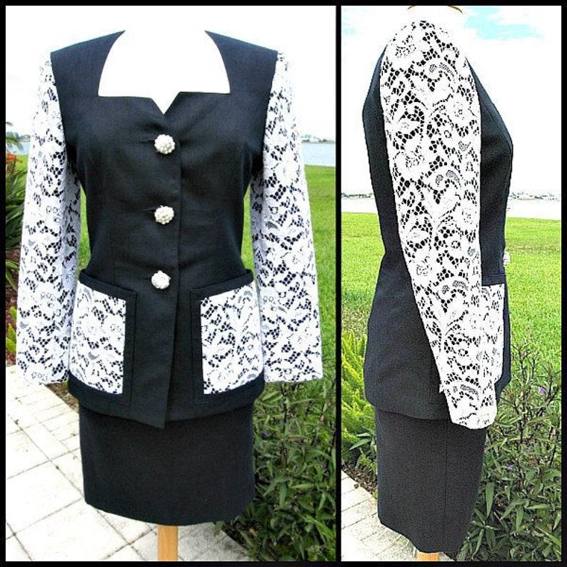e40942385abe Guy Laroche Lace Suit / Vintage French Lace and Linen Suit / | Etsy