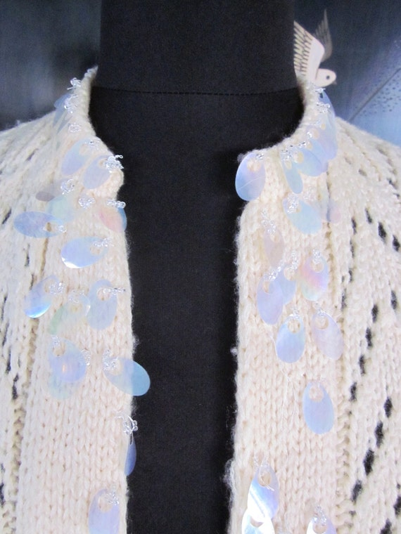 Hand knit 50s Cardigan / fits S-M / Vintage 50s p… - image 5