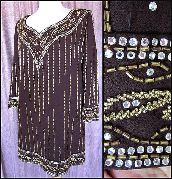 Rose Taft Dress / Rose Taft Brown Dress / Vintage