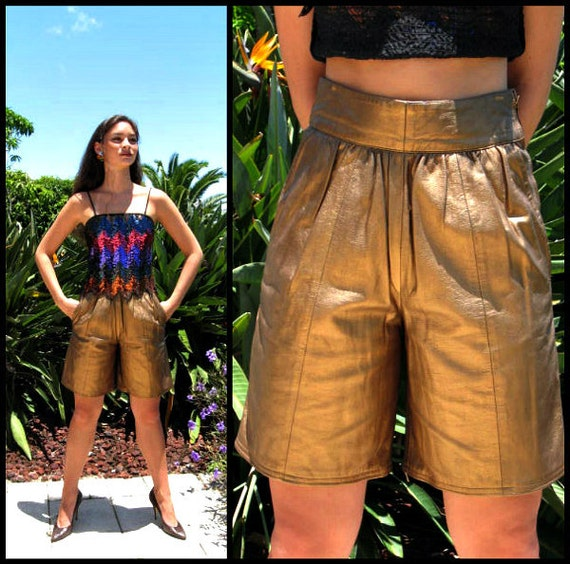 Giorgio Armani Leather Shorts / fits XS-S / Vinta… - image 1