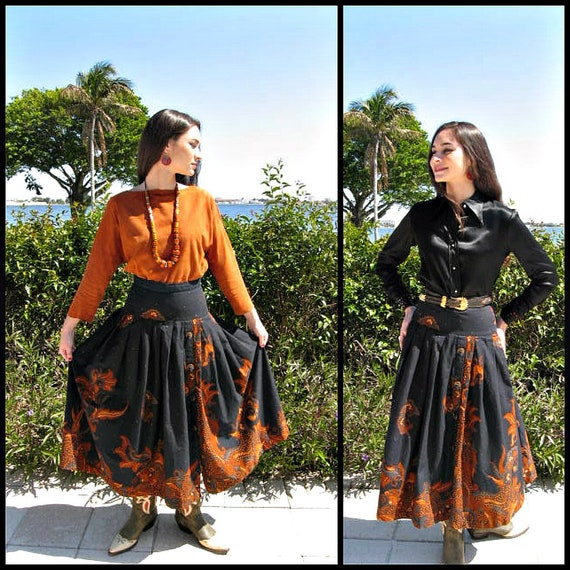 Carmanita Batik Skirt / fits S / Vintage Batik Ski