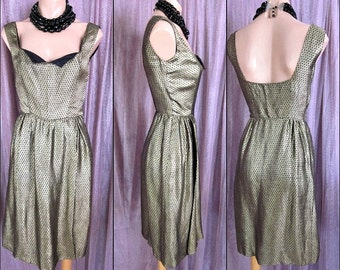Vintage Brocade Dress / Gold Brocade Dress / 50s Gold Dress / 50s Brocade Dress / fits XS-S / Vintage Gold Dress / Vintage Gold Sheath