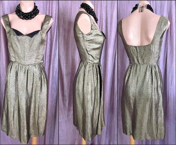 Vintage Brocade Dress / Gold Brocade Dress / 50s G