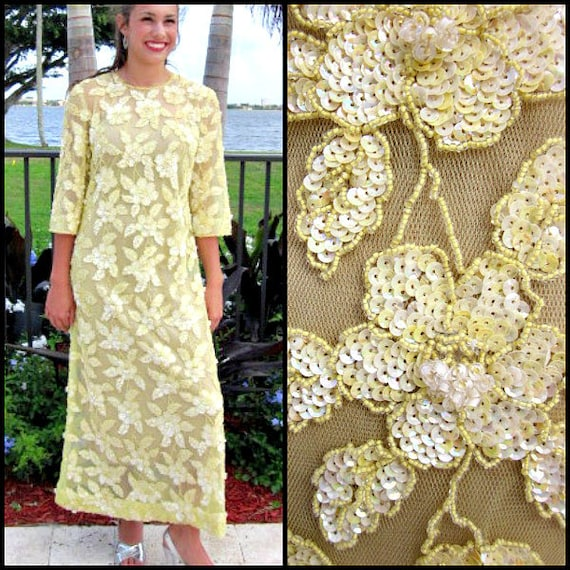 Yellow Beaded Gown / Vintage Yellow Gown / Couture