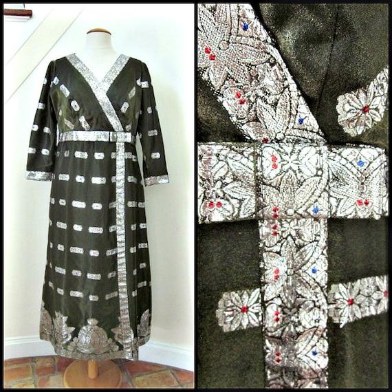 Metallic Lame Dress / fits L / Vintage Green Metal
