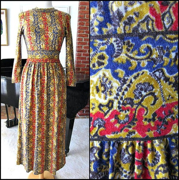 GOLDWORM Dress / fits XS-S / Vintage 70s Goldworm