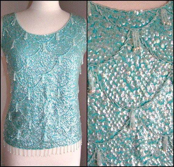 50s Beaded Sweater / Aqua Beaded Sweater / Vintage