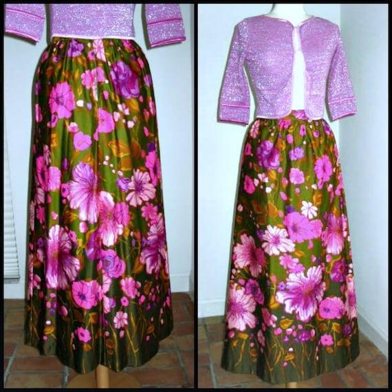 Mod Maxi Skirt / Mod Floral Skirt / 60s Hot Pink f