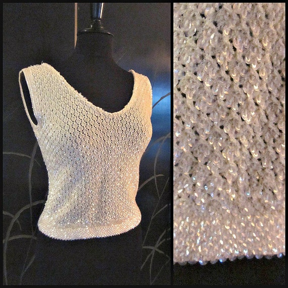 Vintage Hand Crochet Top / Sequin Crochet Top / fi