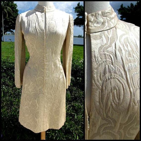 60s Brocade Dress / Vintage Brocade Dress / fits S