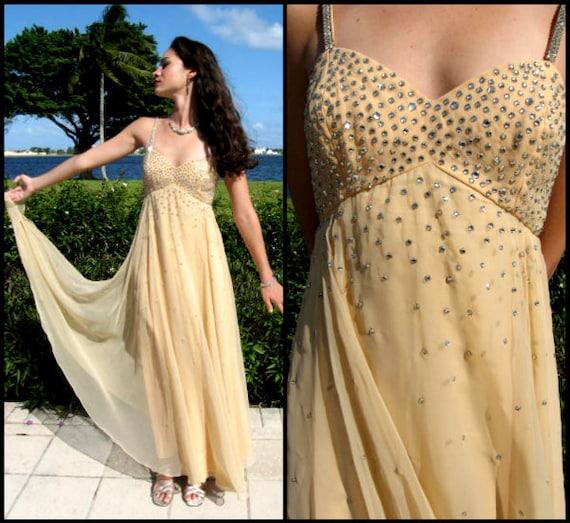 Rhinestone Chiffon gown / fits XS / Nude Chiffon w