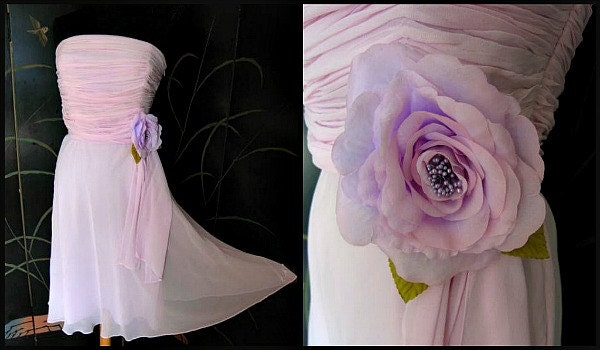 1950s Hats: Pillbox, Fascinator, Wedding, Sun Hats Lilac Pink Silk Chiffon DressVintage Bridesmaid Fits S-M Bust 35 Waist 28 Bridesmaid Dress $12.95 AT vintagedancer.com