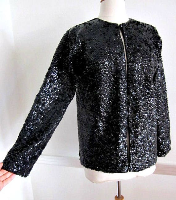 50s Sequin Jacket / Vintage Sequin Jacket / Black