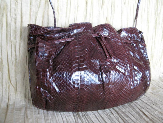 Mary McFadden Snake Purse / Brown Snakeskin Purse