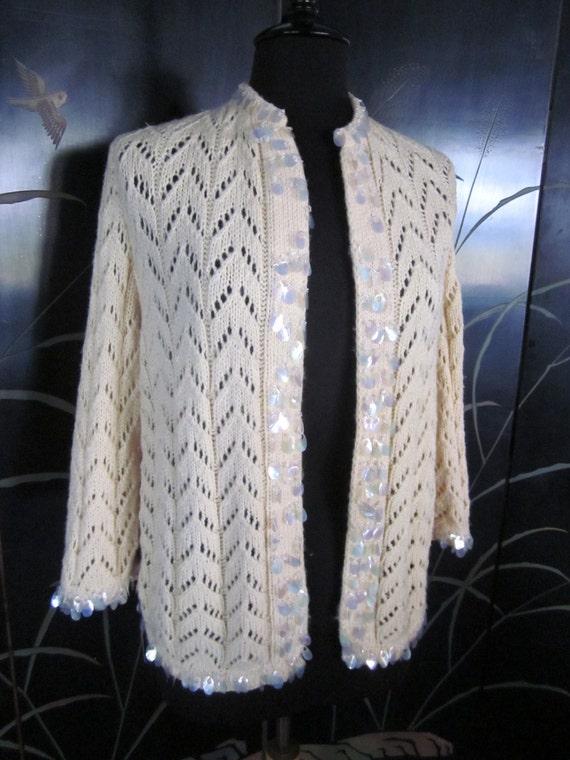 Hand knit 50s Cardigan / fits S-M / Vintage 50s p… - image 2