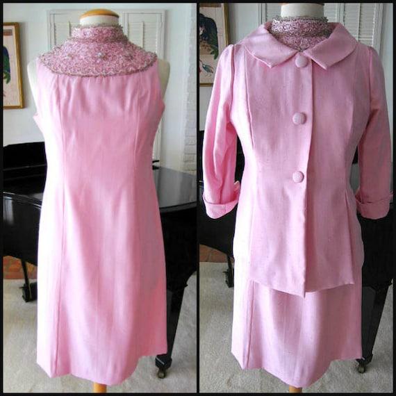 50s Beaded Suit / fits M-L / 50s Shantung Silk Sui