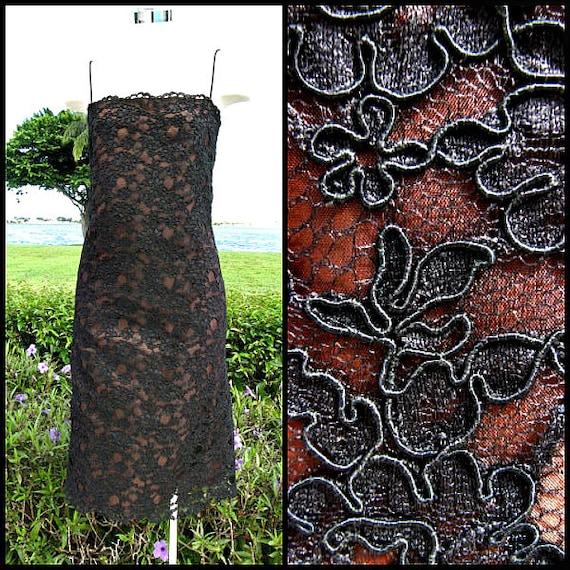 Guipure Lace Dress / Vintage Black Lace Dress / fi