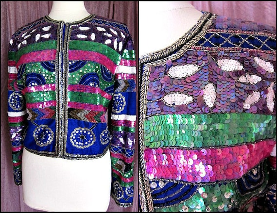 Blue Silk Beaded Jacket / fits L / Thai Silk Beade