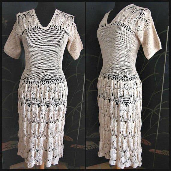 Antique Crochet Dress / 40s Crochet Dress / 1940s