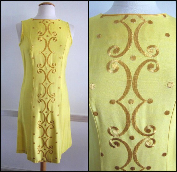 50s Yellow Dress / fits S / Vintage Yellow Dress /