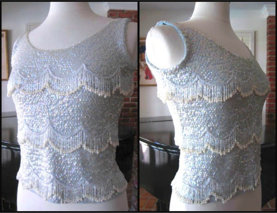 50s Beaded Sweater / 50s Blue Sequin Sweater / fit