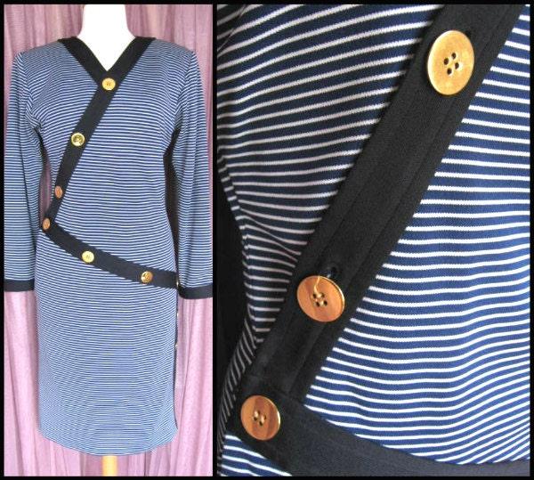 80s Dresses   Casual to Party Dresses Yves Saint Laurent Dressstriped Dress 80S Ysl Fits M Vintage Nautical Ysl $40.00 AT vintagedancer.com
