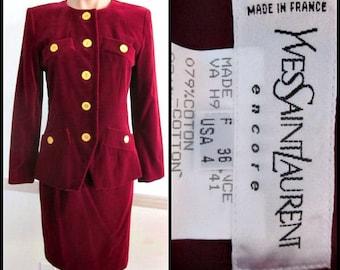 Yves Saint Laurent Suit / YSL velvet suit / vintage Saint Laurent suit / YSL burgundy velvet skirt suit / fits XS-S / red velvet suit