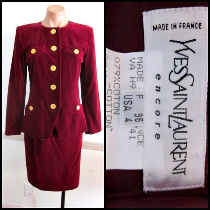f63920d0a Yves Saint Laurent Suit / YSL velvet suit / vintage Saint | Etsy
