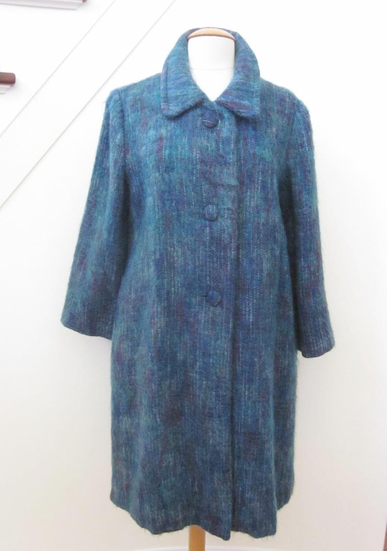 Emily Wetherby Coat  fits M  Vintage Emily Wetherby Mohair Coat  Vintage Blue Mohair Coat  70s Emily Wetherby Blue Coat