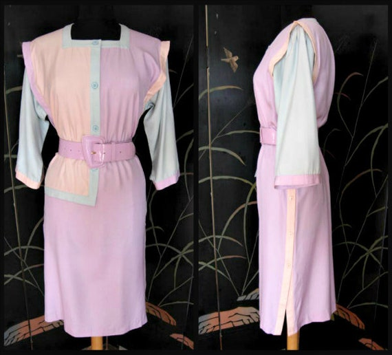 OLEG CASSINI Dress / vintage colorblock dress / pa