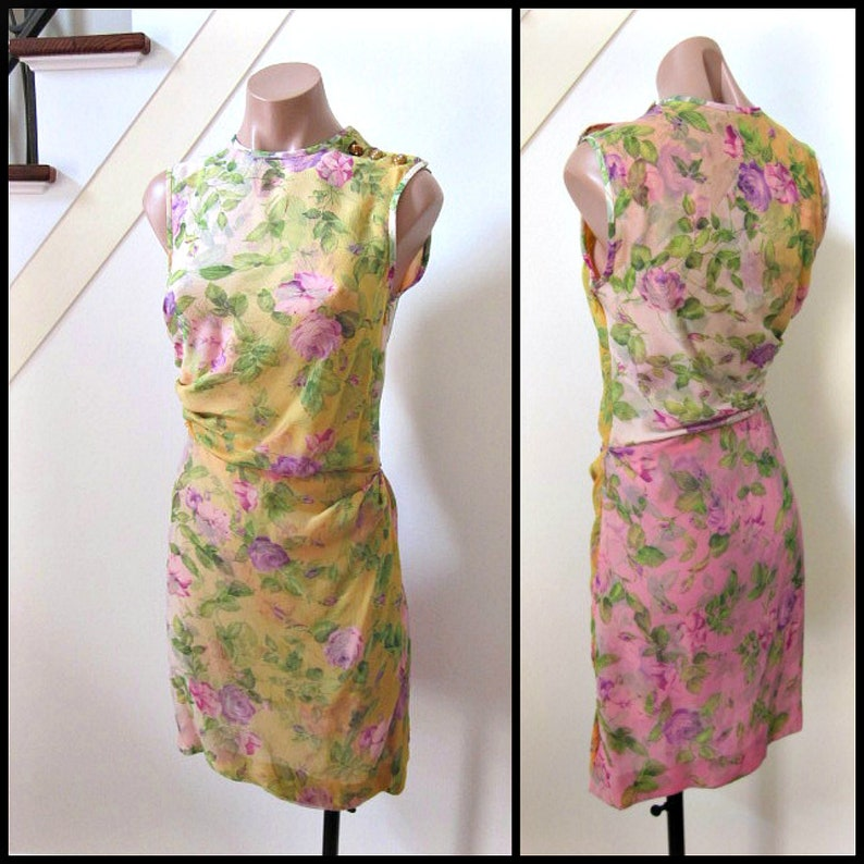 b8e1dff1 Yves Saint Laurent Dress / vintage YSL dress / fits XS-S / Yves Saint  Laurent Floral Dress / Saint Laurent Silk Dress / Saint Laurent dress