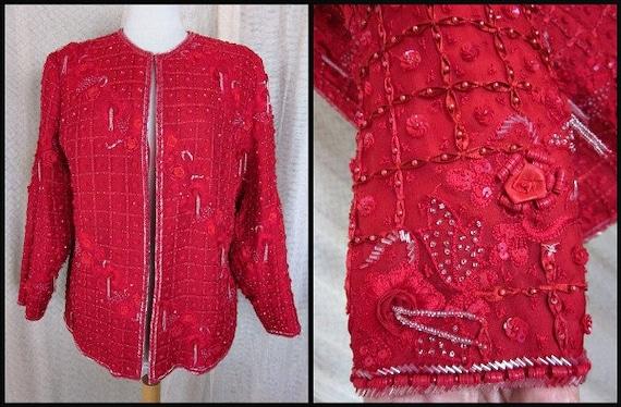 RED 3-D Flower Beaded Vintage Jacket // fits L //