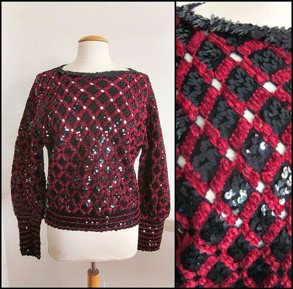 Burgundy Chenille Sequined Sweater / 70s Black Seq