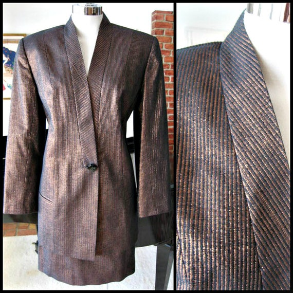 Copper Striped Skirt suit / fits S / 80s Metallic