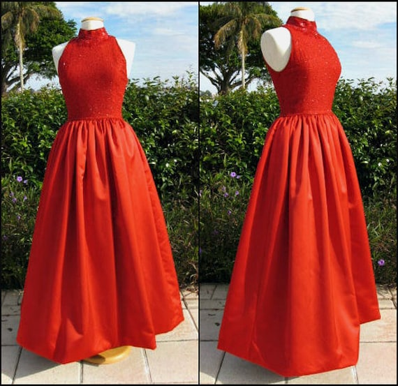 Red Silk Ball Gown / Vintage Sequin Red Gown / 90s