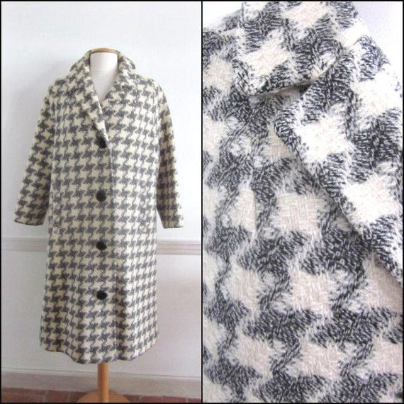 50s Houndstooth Coat / Vintage 50s Check Coat / Wh