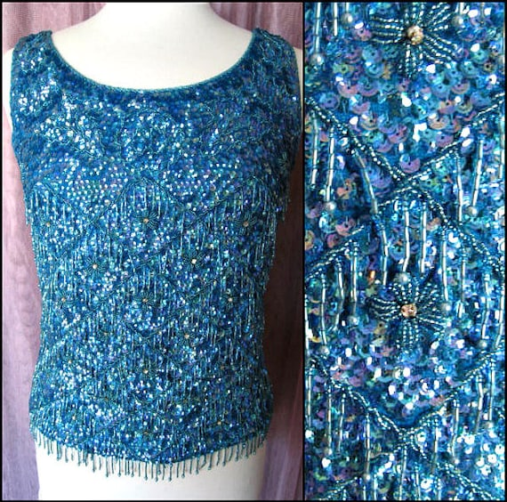 Turquoise beaded top / Vintage Blue Beaded Top / 5