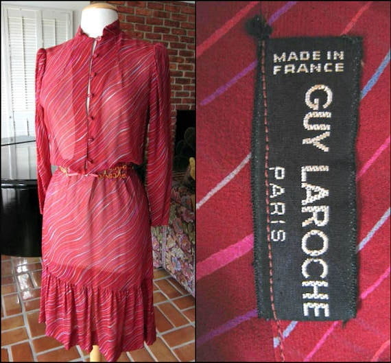 GUY LAROCHE Dress / 70s Guy Laroche Dress / fits S