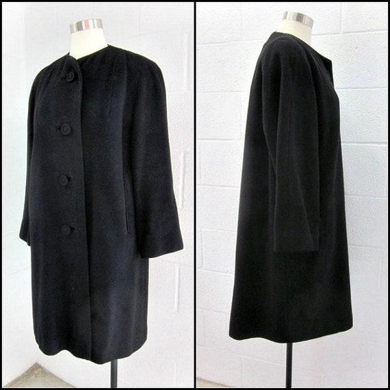 50s cashmere coat / vintage cashmere coat / black